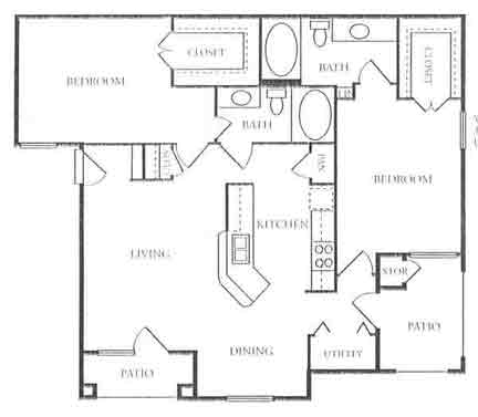 1,085 sq. ft. to 1,088 sq. ft. B2 floor plan