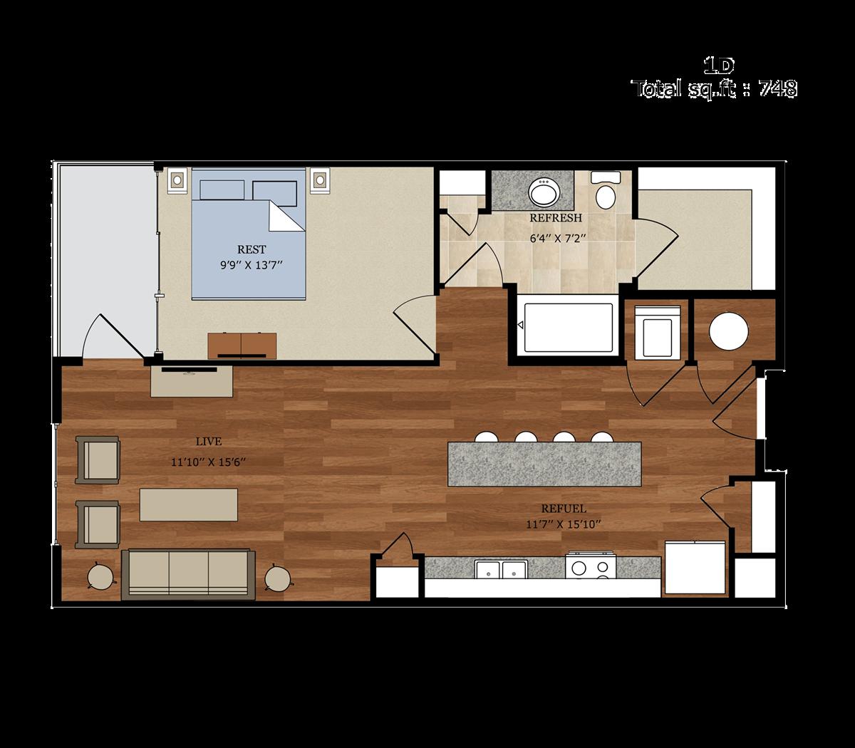 748 sq. ft. 1D floor plan
