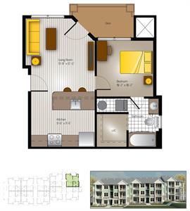 508 sq. ft. Blanco(Cottage) floor plan