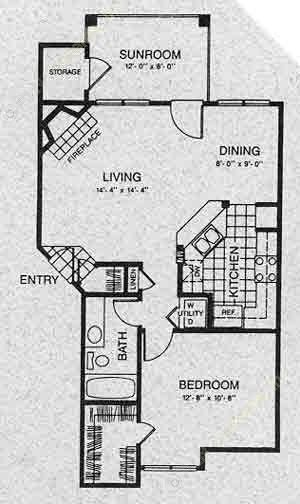 805 sq. ft. A3 floor plan
