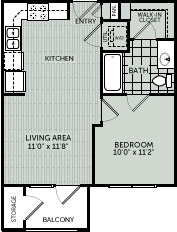 517 sq. ft. 1A floor plan