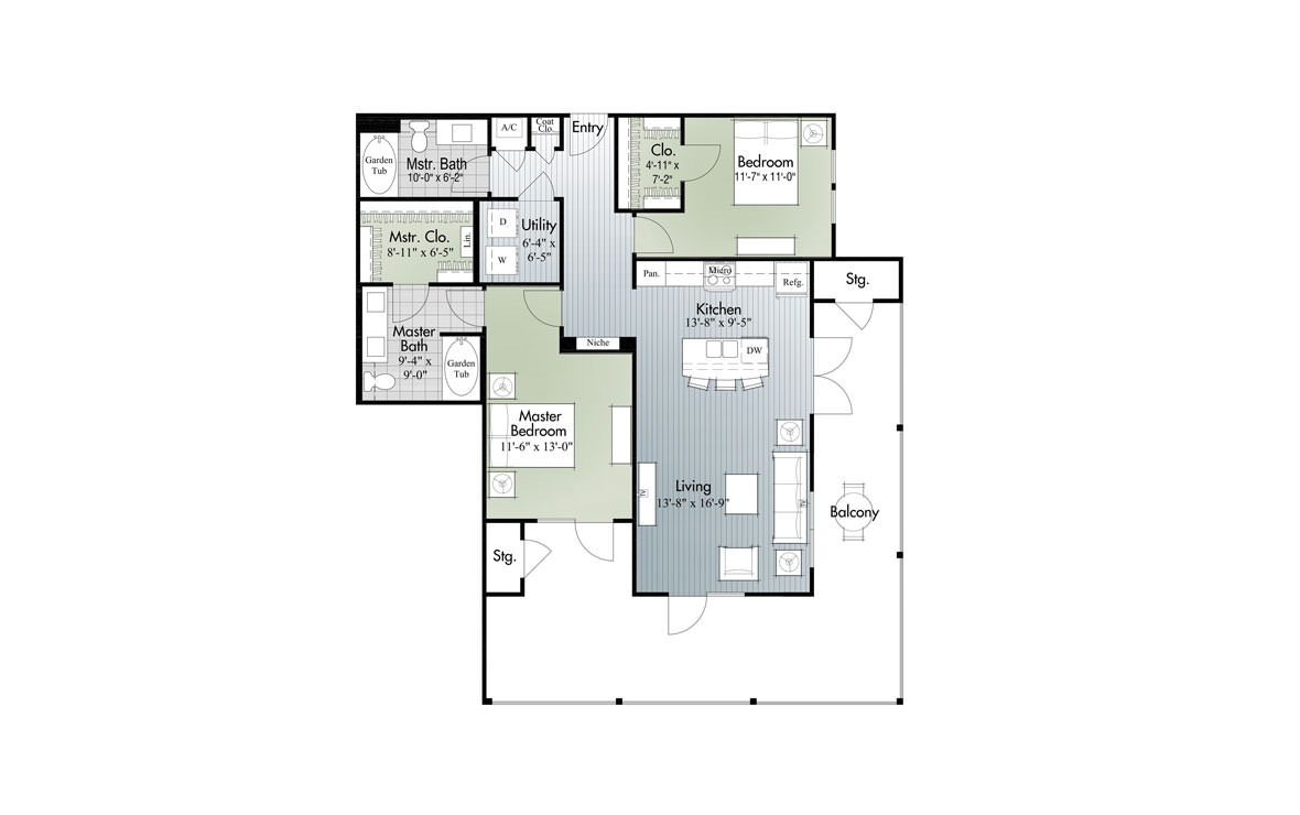 1,166 sq. ft. B4 floor plan