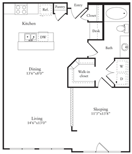 850 sq. ft. F floor plan