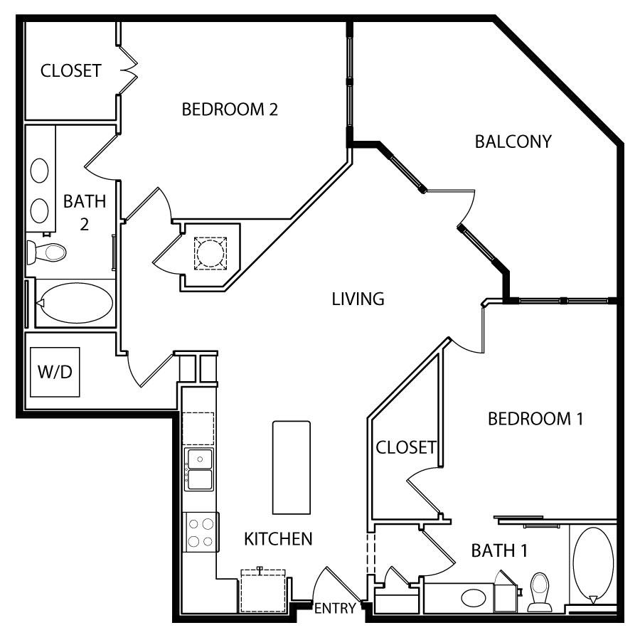 1,080 sq. ft. B1 floor plan