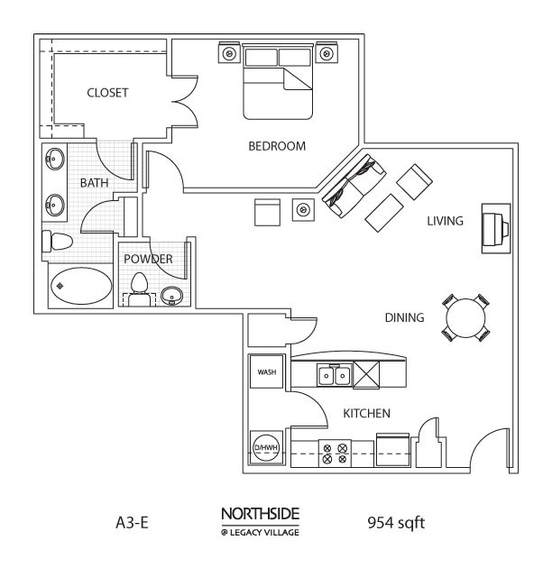 954 sq. ft. to 1,048 sq. ft. A3-E floor plan