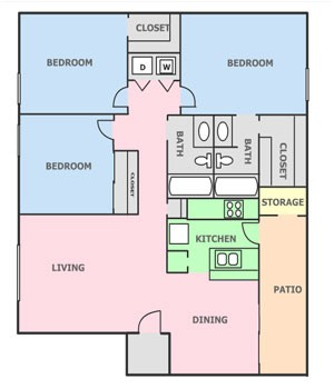1,035 sq. ft. N floor plan