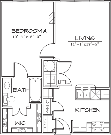 618 sq. ft. floor plan