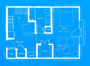 560 sq. ft. L1 floor plan