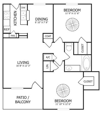 930 sq. ft. B1 floor plan