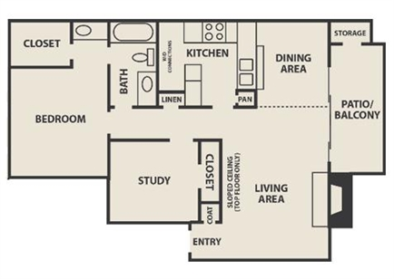 856 sq. ft. A5 floor plan