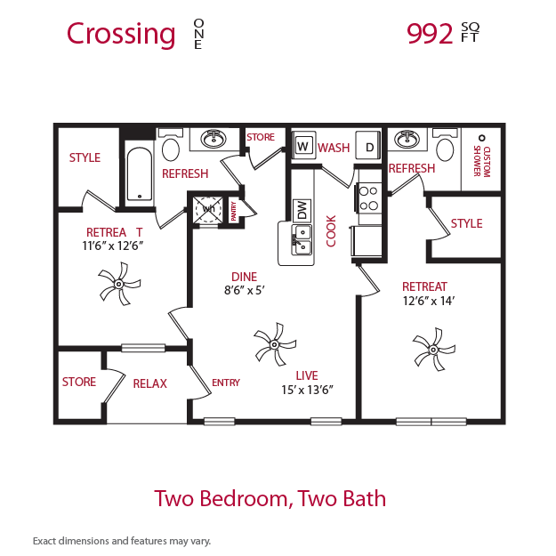 992 sq. ft. Crossing 1 floor plan