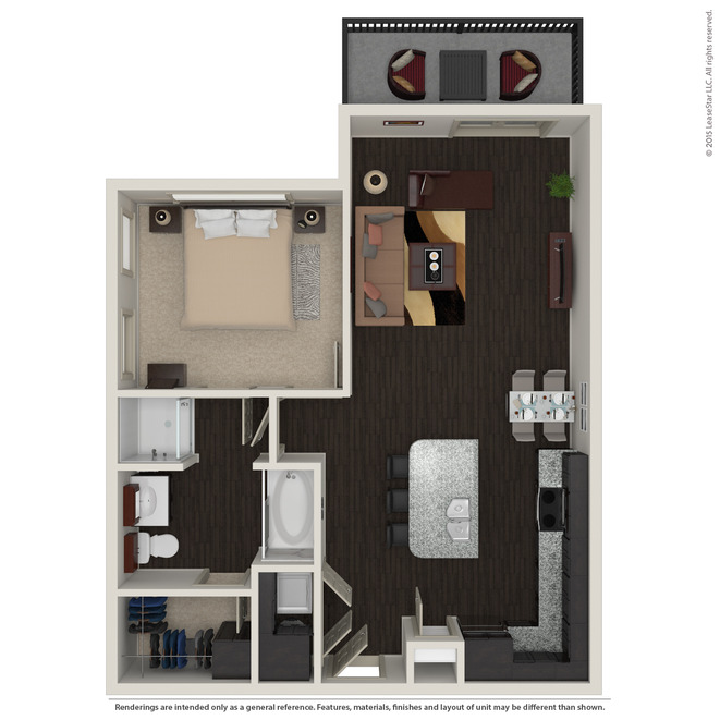 758 sq. ft. A2.1 floor plan