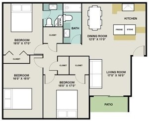 1,230 sq. ft. Algiers II floor plan