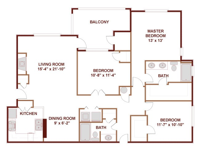 1,362 sq. ft. 32B floor plan