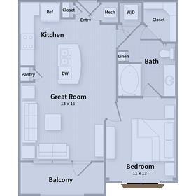 675 sq. ft. A floor plan