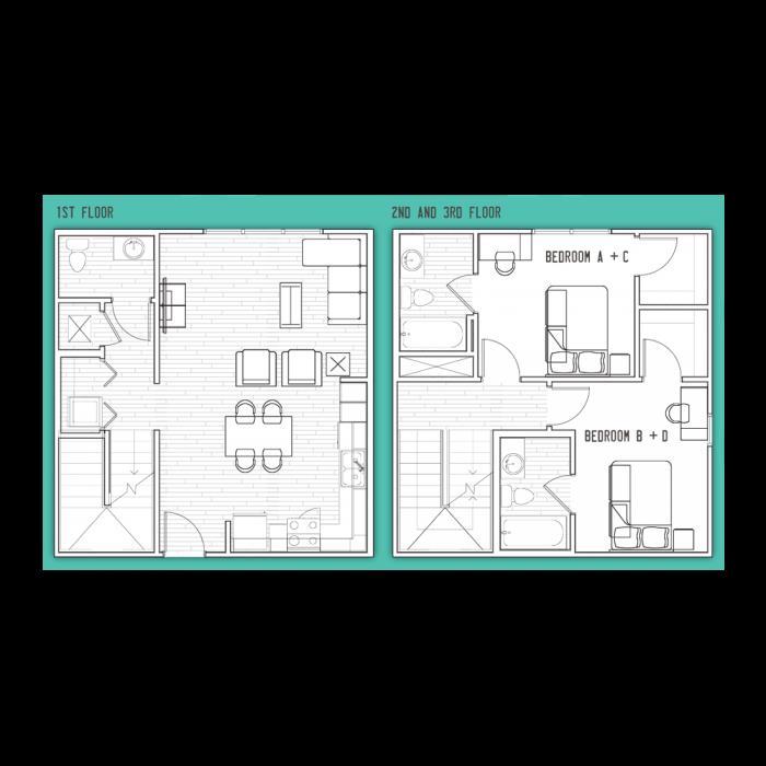 1,654 sq. ft. D2 floor plan