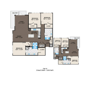 1,550 sq. ft. Oak III floor plan