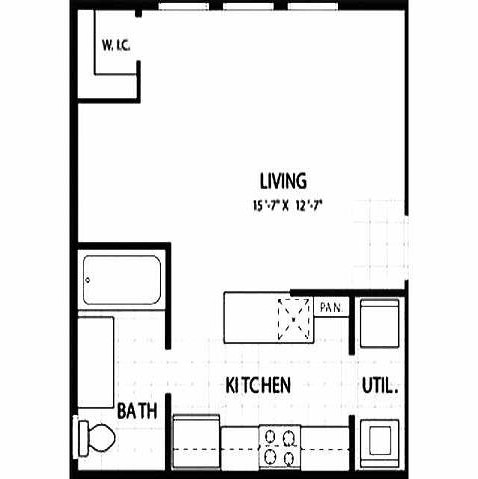 430 sq. ft. Zenith floor plan
