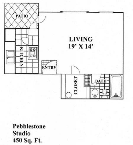 450 sq. ft. Pebblestone floor plan