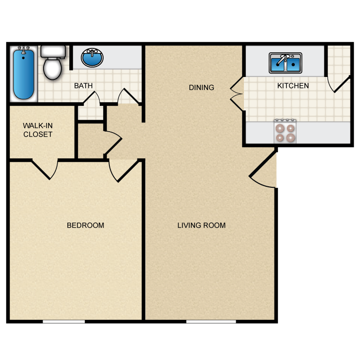 660 sq. ft. II-A1 floor plan