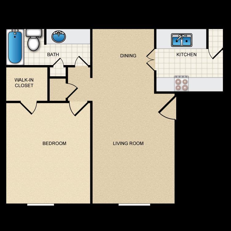 660 sq. ft. II-A1 floor plan