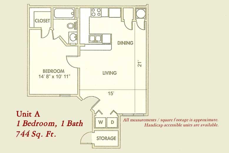 744 sq. ft. Mkt floor plan