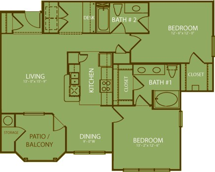 1,156 sq. ft. Olympic floor plan