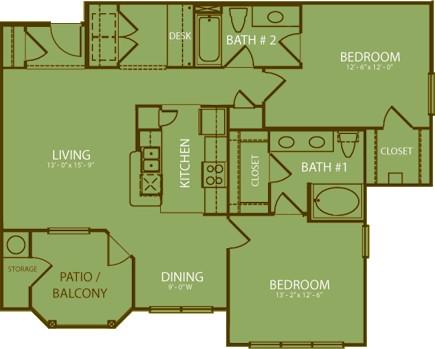 1,156 sq. ft. Olympic floor plan