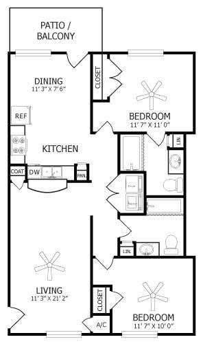1,040 sq. ft. B2/Camellia floor plan