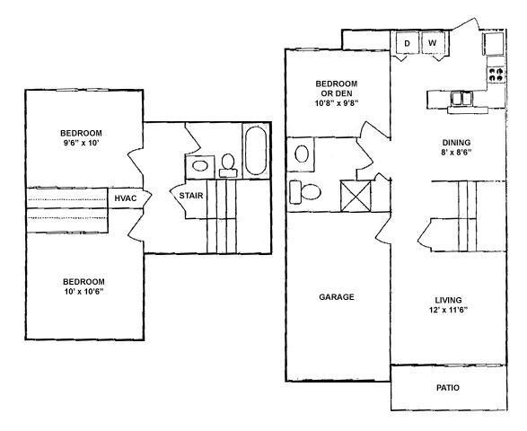 1,055 sq. ft. 50% floor plan