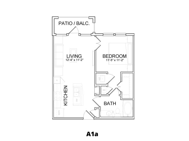 600 sq. ft. A1A floor plan
