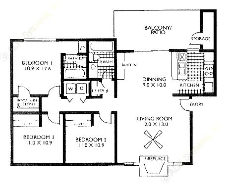 1,142 sq. ft. C1 floor plan