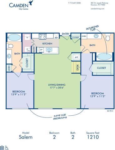 1,210 sq. ft. SALEM floor plan