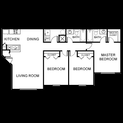 1,154 sq. ft. C3/60% floor plan