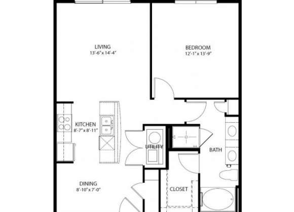 837 sq. ft. A6 PH3 floor plan