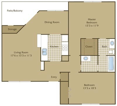960 sq. ft. D floor plan