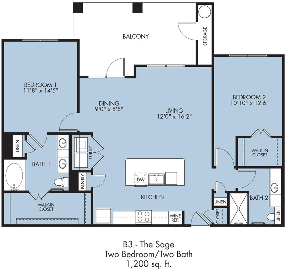 1,200 sq. ft. Sage floor plan