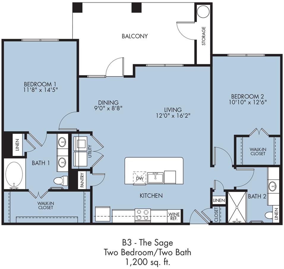 1,200 sq. ft. Sage floor plan