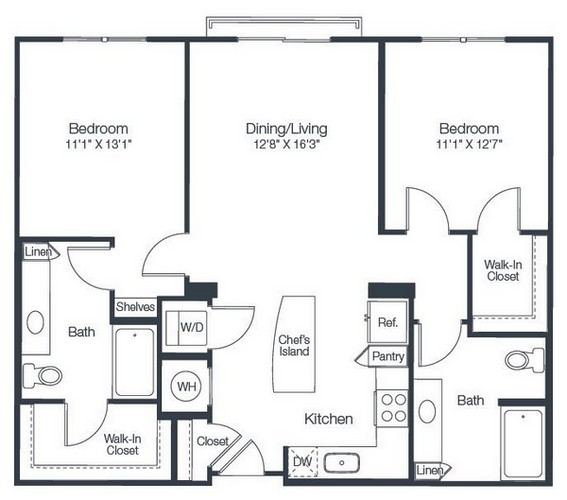 1,077 sq. ft. B3A floor plan