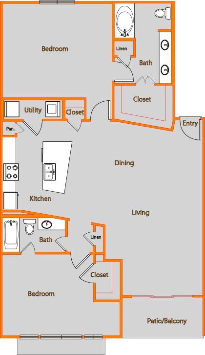 1,371 sq. ft. FLAT 2 floor plan