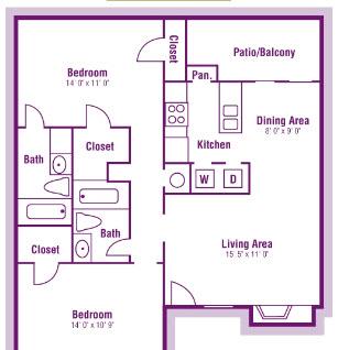 954 sq. ft. B3 floor plan