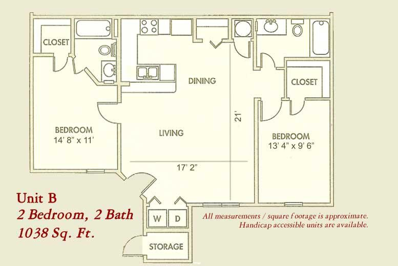 1,038 sq. ft. MKt floor plan
