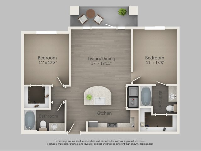 981 sq. ft. Cypress floor plan