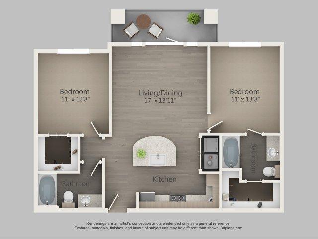 981 sq. ft. Cypress floor plan