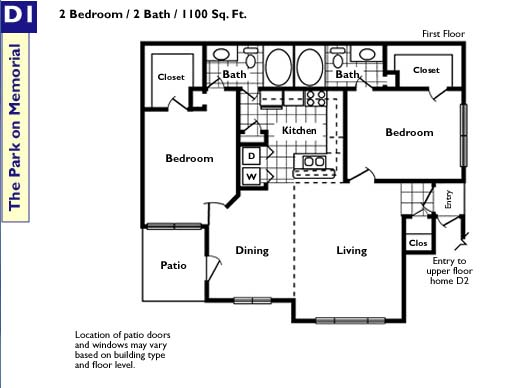 1,100 sq. ft. D floor plan