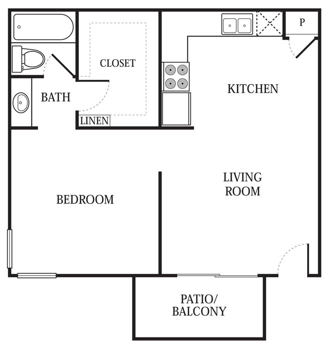 521 sq. ft. A1 floor plan
