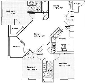 1,273 sq. ft. Tallow floor plan