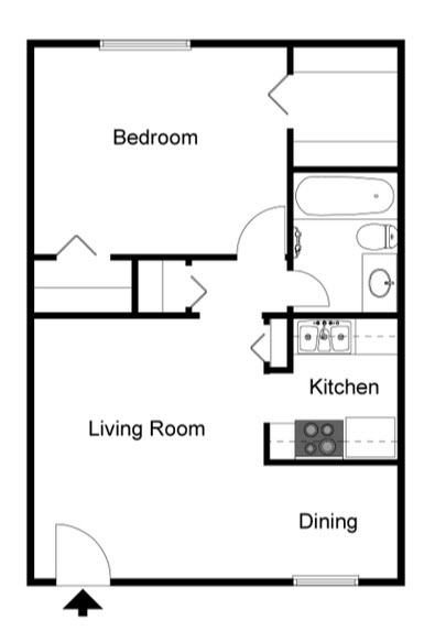 528 sq. ft. A2 floor plan