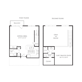 982 sq. ft. 2AS2.2 floor plan