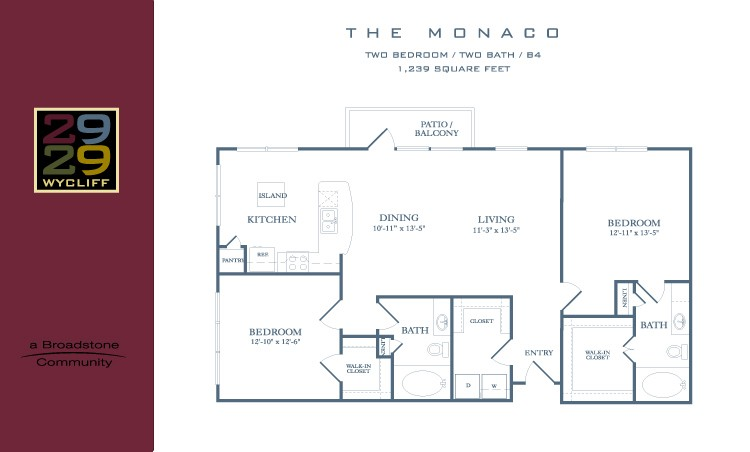 1,239 sq. ft. Monaco floor plan